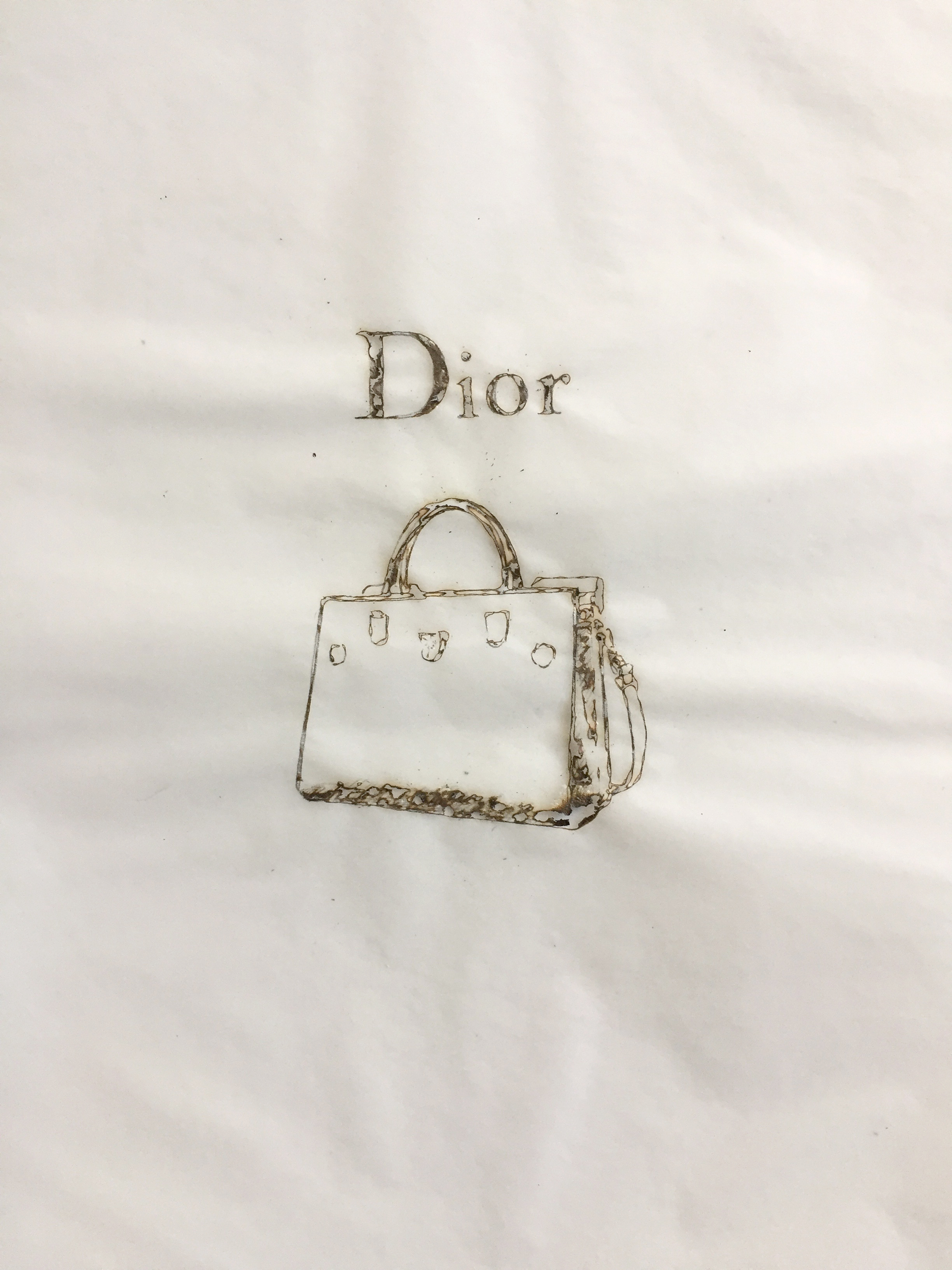 Davide Cantoni, drawing 17003 ( Dior bag) , 2017 , burned paper, 12 x 9 inches