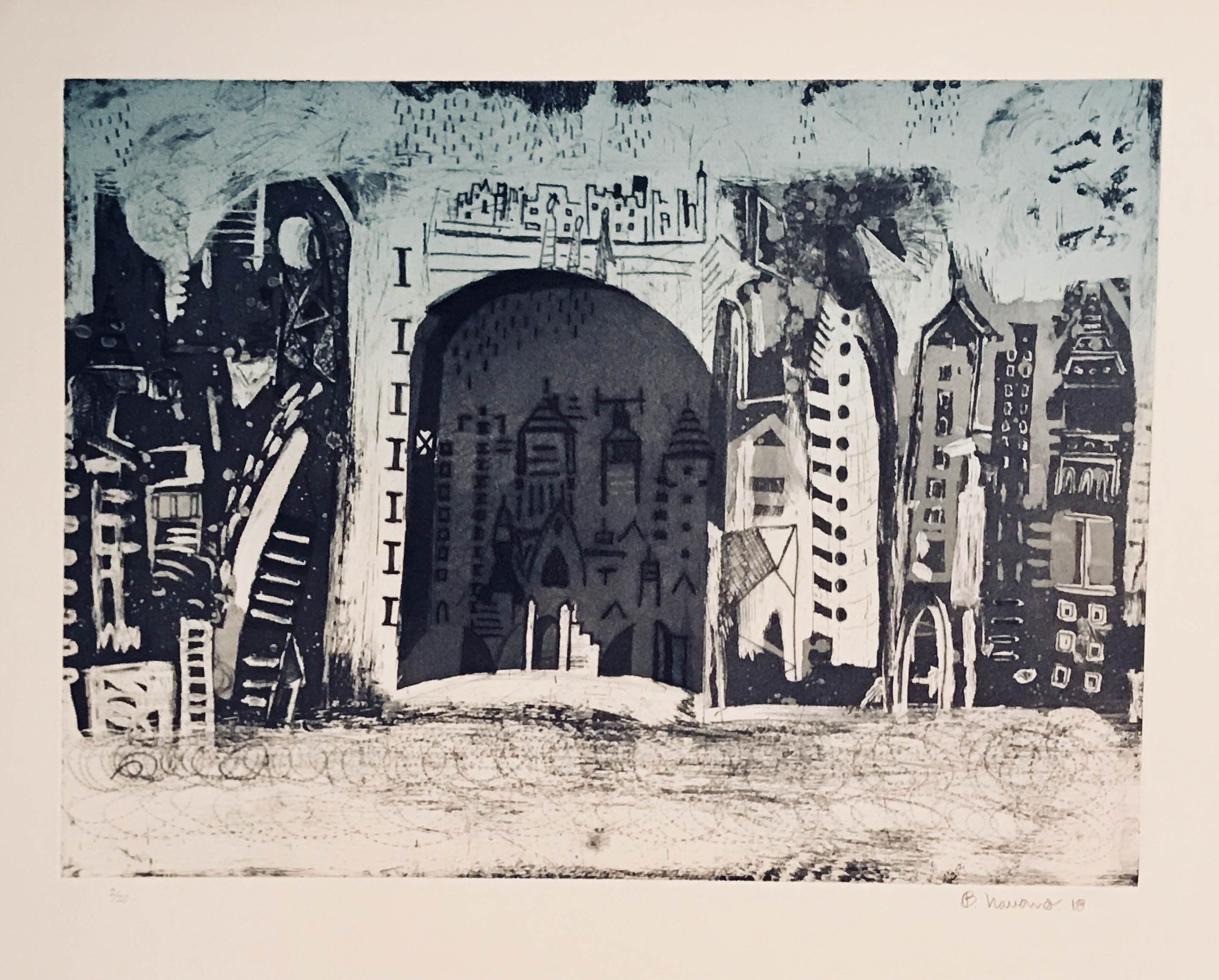 Title: Diurno (Daytime) Drypoint and Aquatint on Deponte paper 350 gr Edition of 20  Plate size : 17.71 x 23.7 inches  Paper: 22.45 x 27.75 inches