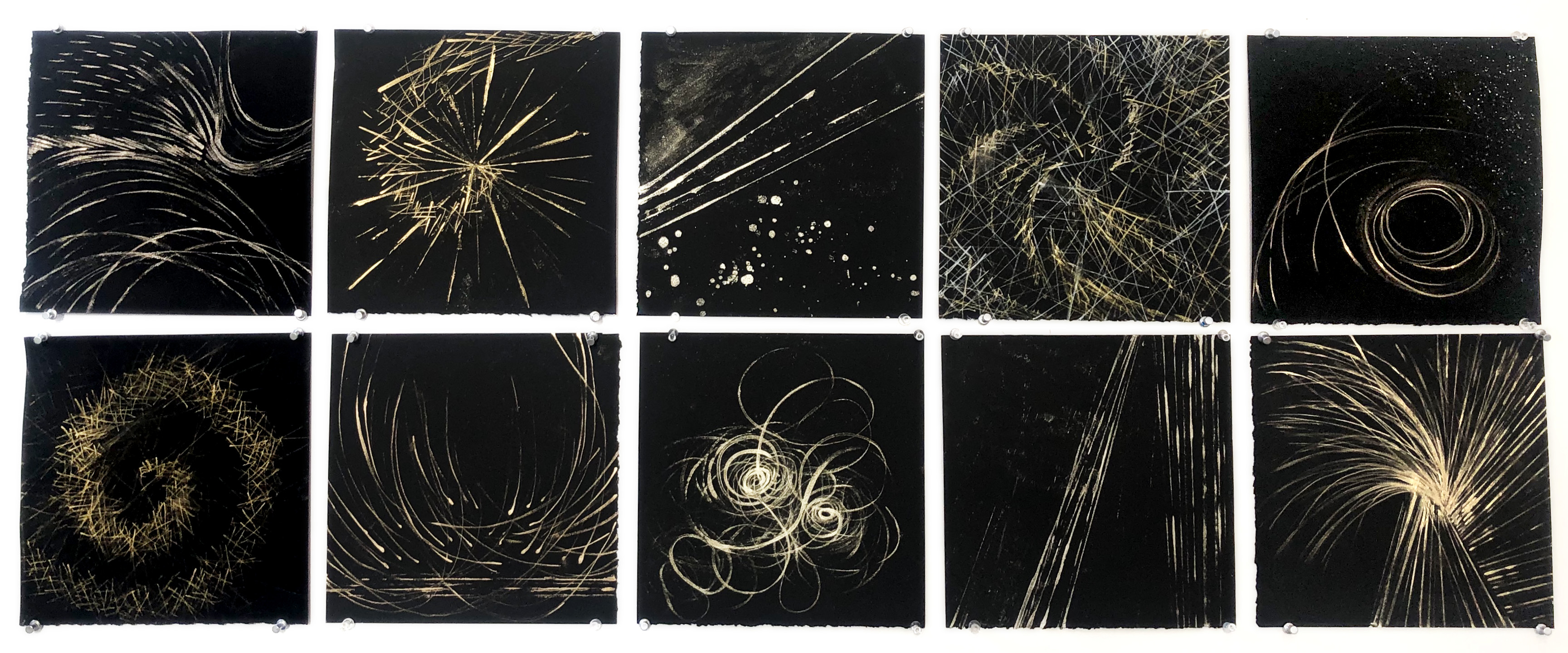 "Anne Patterson, 'Light Manifest', 2019, metallic ink on paper, 10"" x 10"" each"