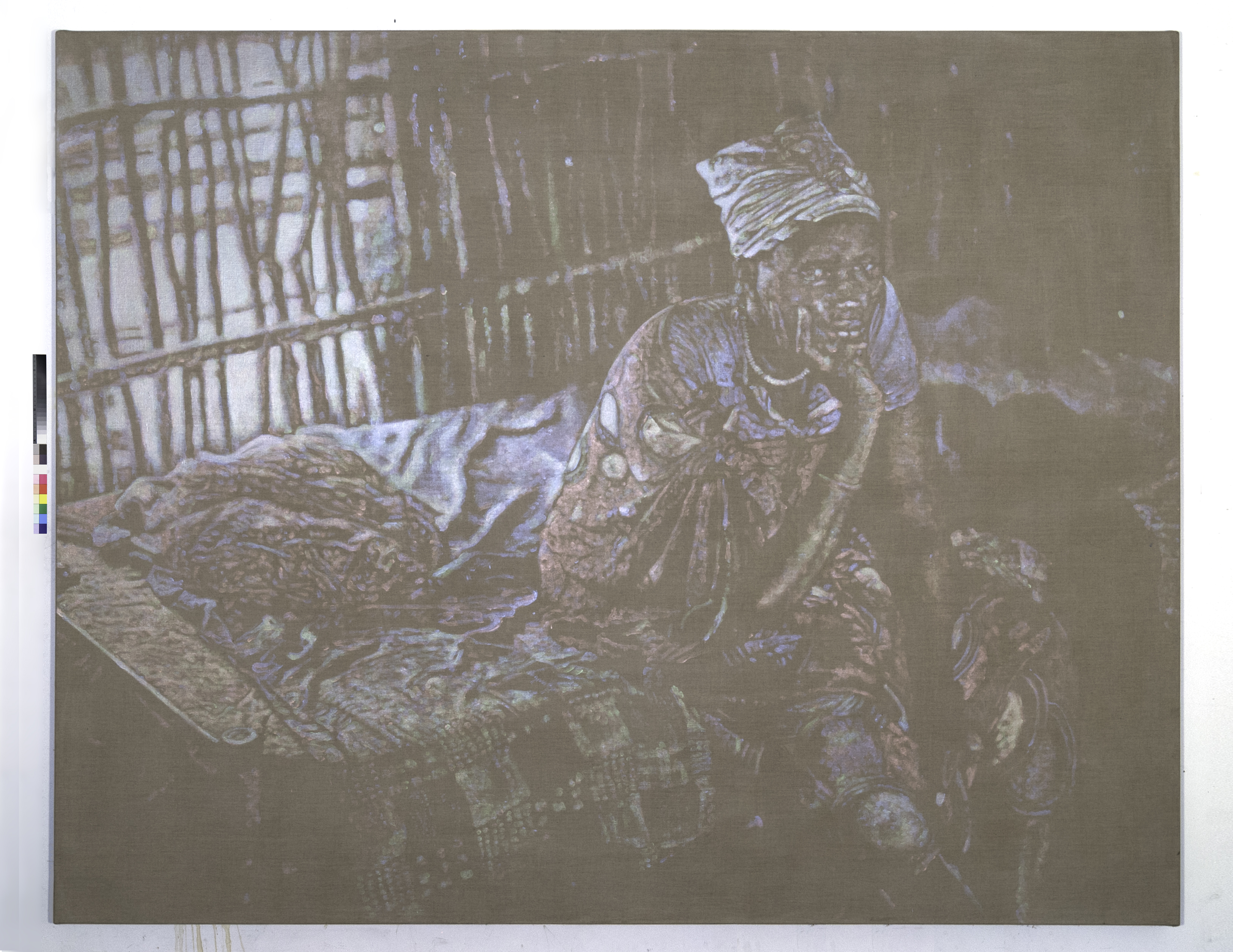 Davide Cantoni, Refugee Hut Sudan RGB, 2018 , Acrylics on Linen, 72 x 90 inches