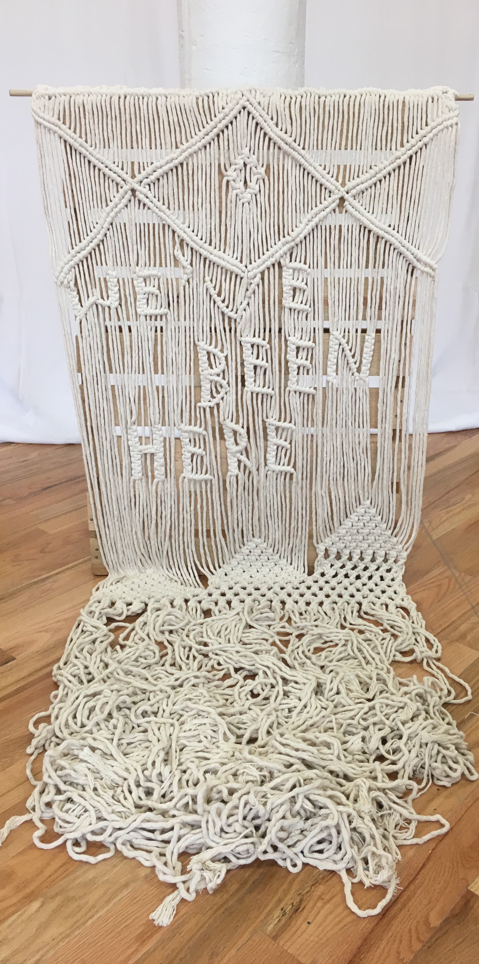 "Stephanie Echeveste, We've Been Here, Cotton cord, 2018, 50"" x 30"""