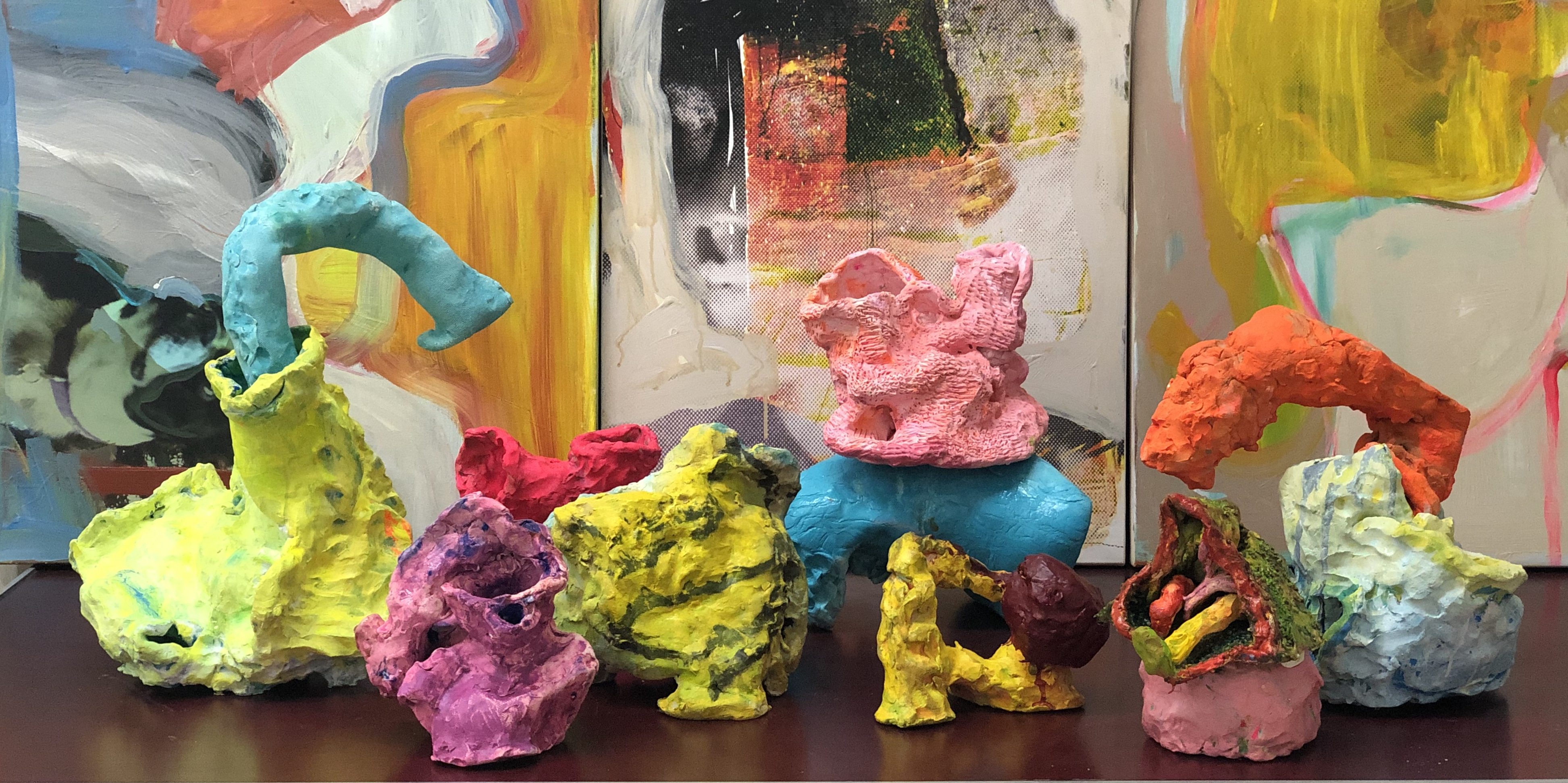 Various ceramic sculptures, 2018, Francie Bishop Good, various