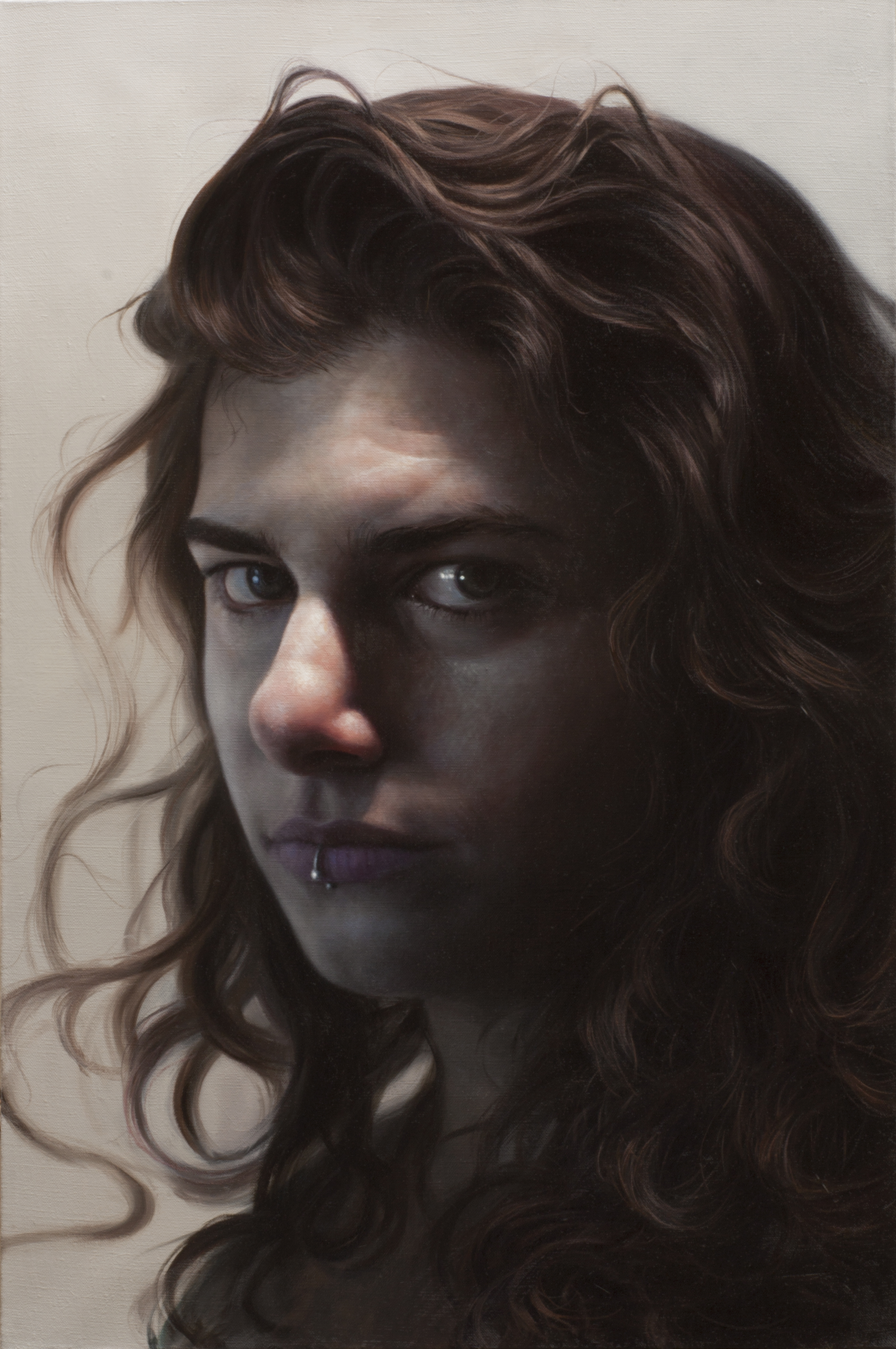 "Gebhart, Girl with the Silver Lip Ring, 2018, oil on linen, 20"" x 30"""