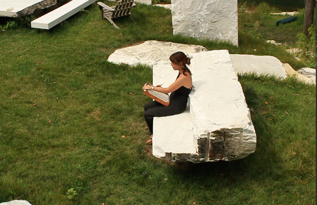 Drawing on the grounds of Marble House (VT) during a residency