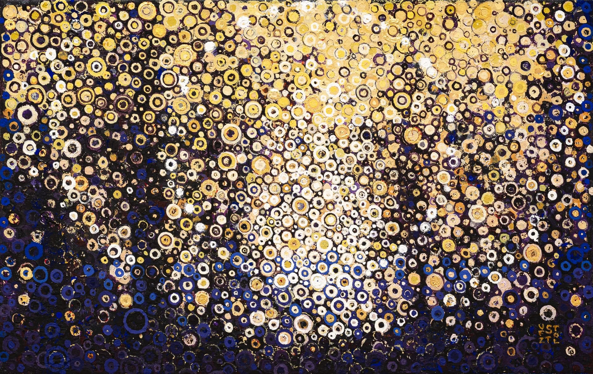 Dark abstract landscape forms backlight by warm yellows and golds