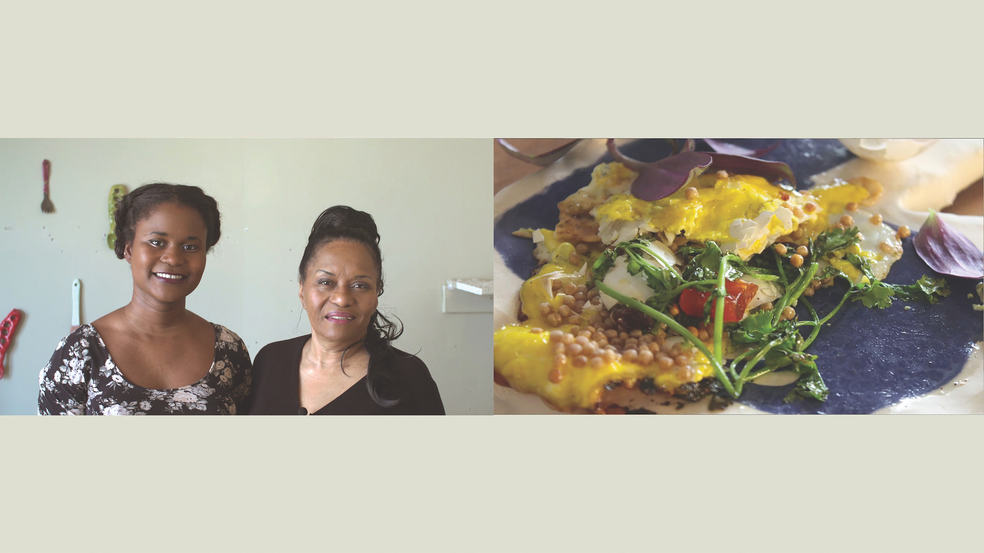 Split screen image still of two woman on one side and dish of food on other