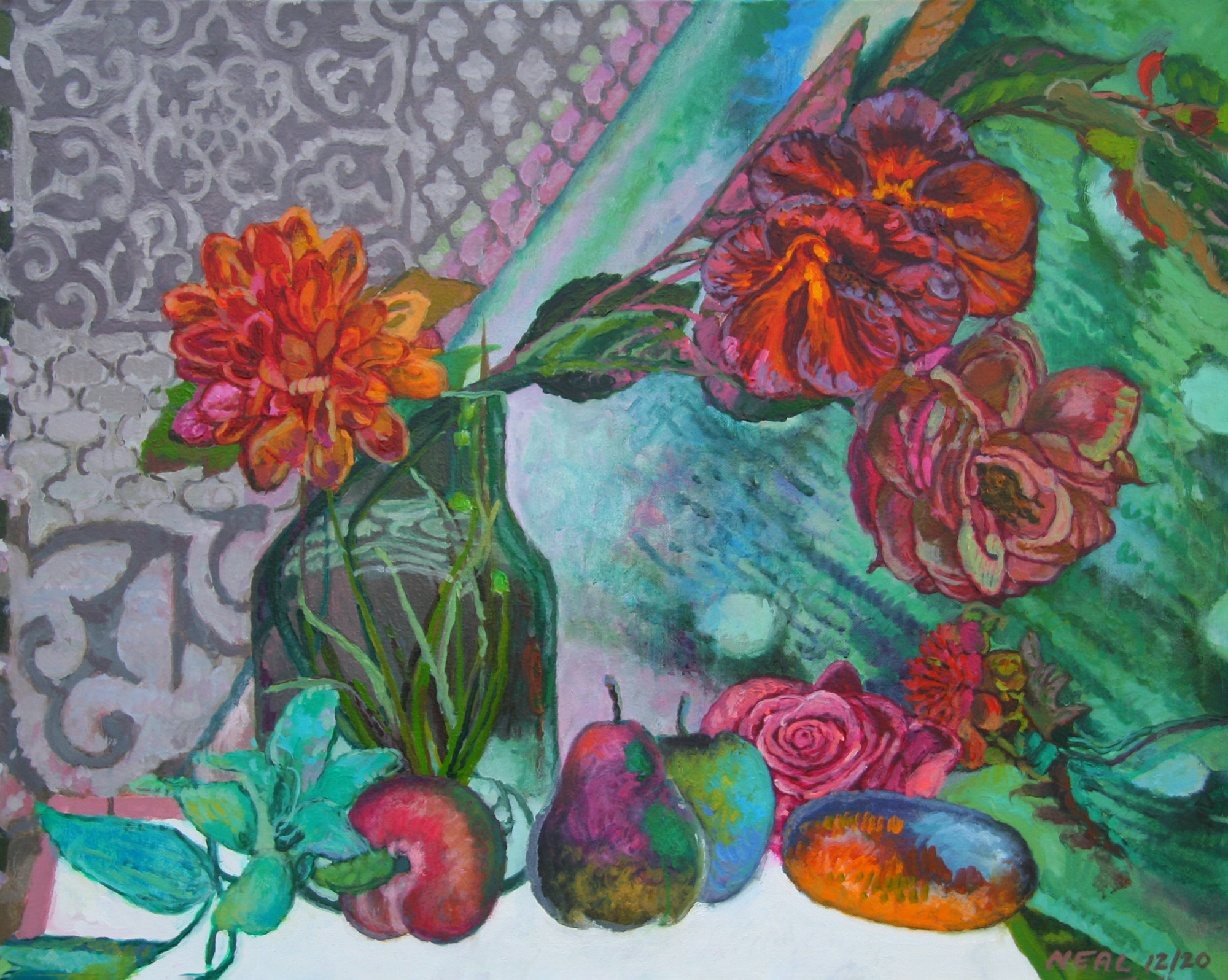 Vivid still life with fruit and flowers and patterns