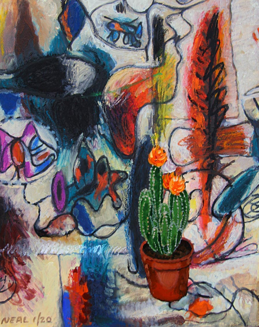 Cactus plant in front of imagery from the artist Arshille Gorky