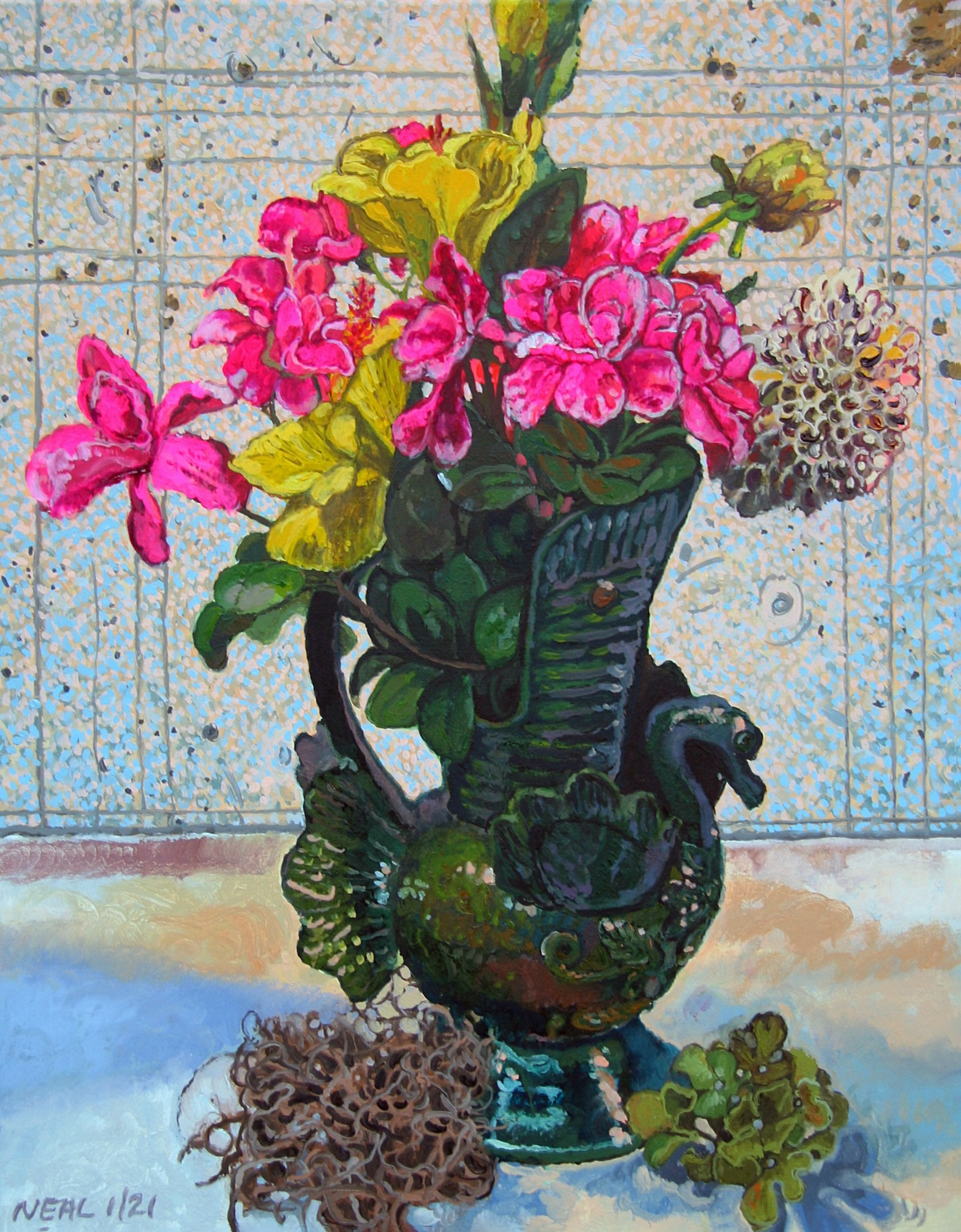 Flowers in a green vase shaped like a swan in front of studio wall